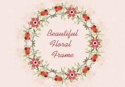 Red Floral Vector Frame Background