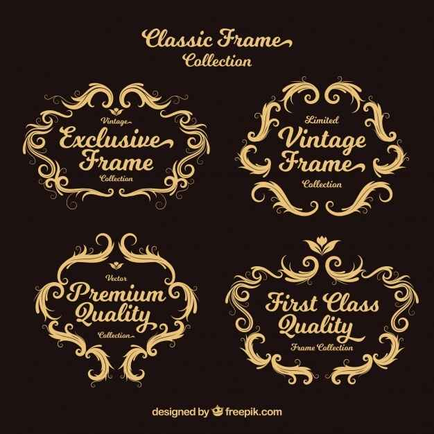 Set of ornamental vintage frames