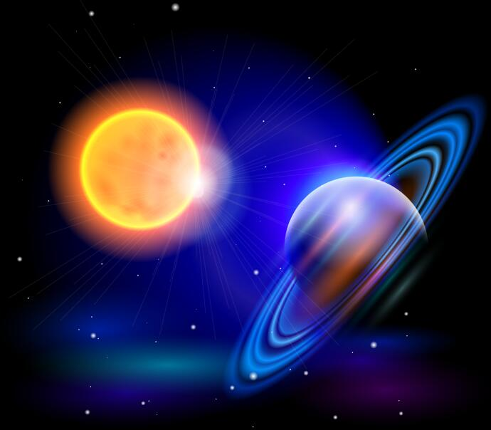 Sun with saturn background vector