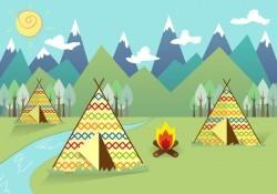 Tipi Indian Landscape Background Vector