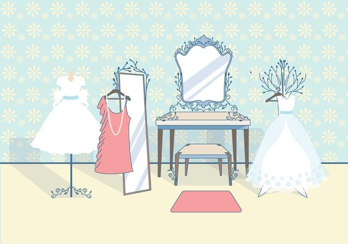 Vintage Bridal Dressing Room Vector