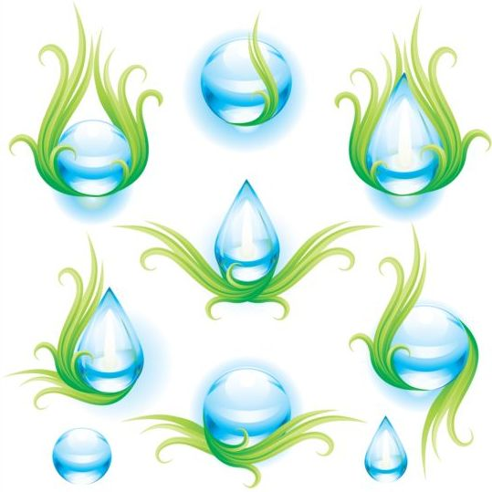 Water with green eco vector illustration