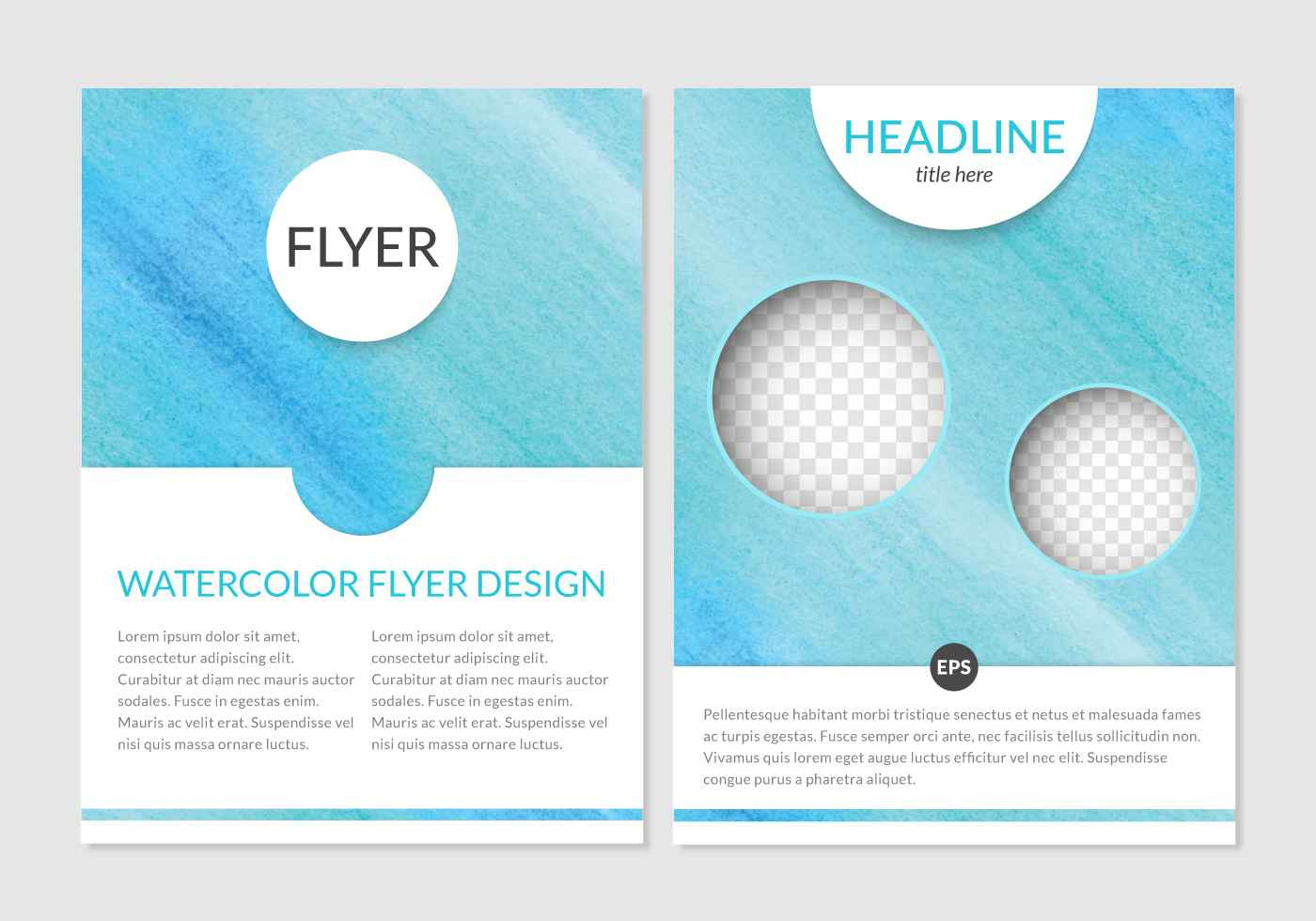 Watercolor Flyer Design Vector