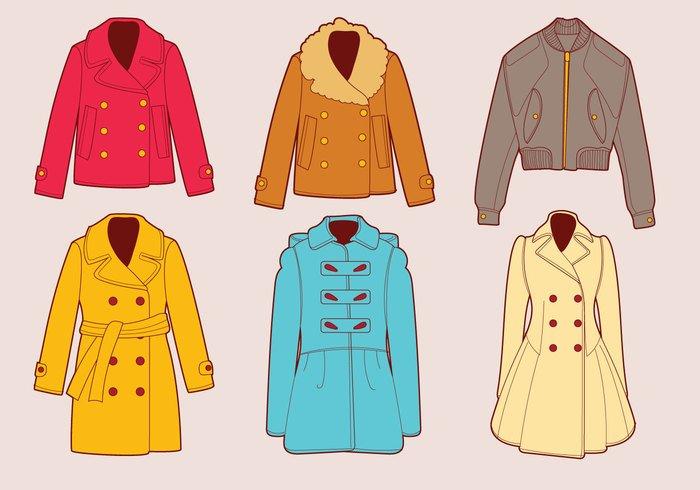 Winter Coats Vector Set