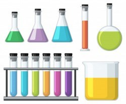 Beakers with colorful liquid