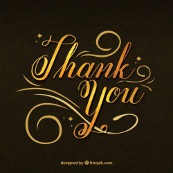 "Elegant background of golden lettering with the text ""thank you"""