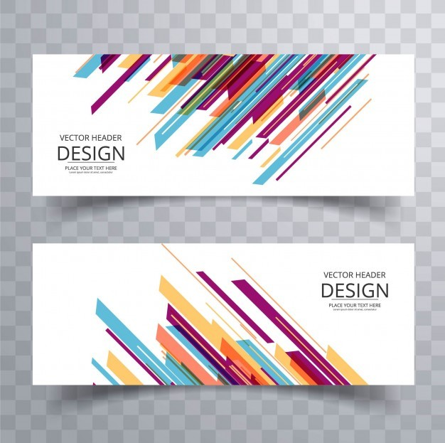Banner design with colorful stripes