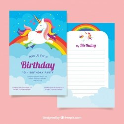 Birthday card with unicorn and rainbow