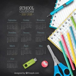 Blackboard background with calendar 2017-2018