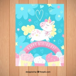 Blue birthday invitation with a unicorn