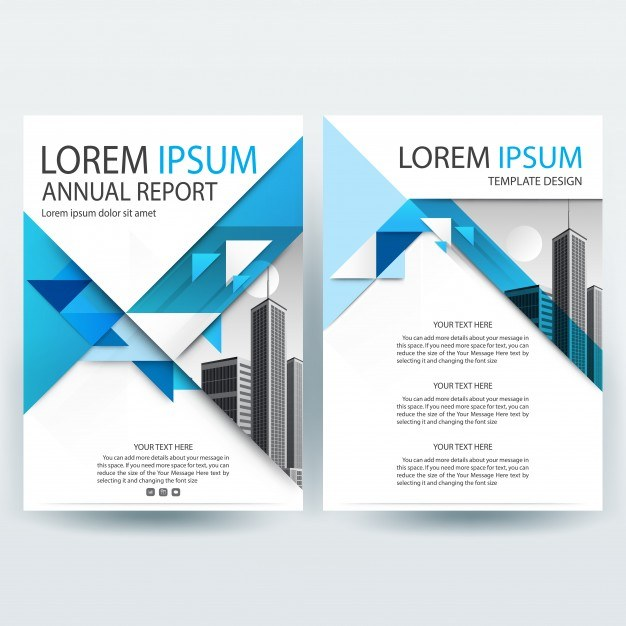 Business brochure template with Blue Triangle shapes