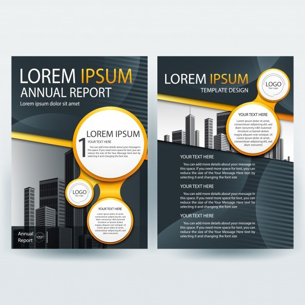 Business brochure template with Orange and Gray Round