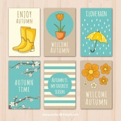 Cute collection of hand drawn autumnal cards