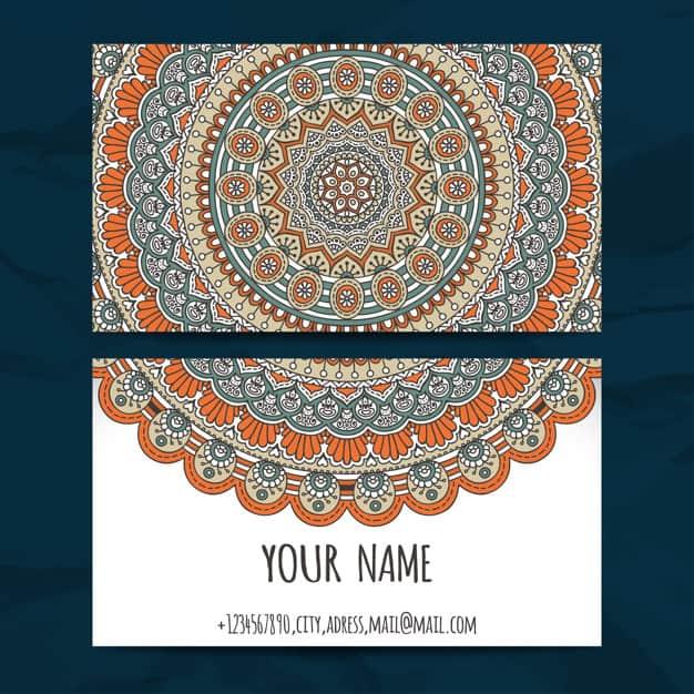 Decorative mandala style visiting card