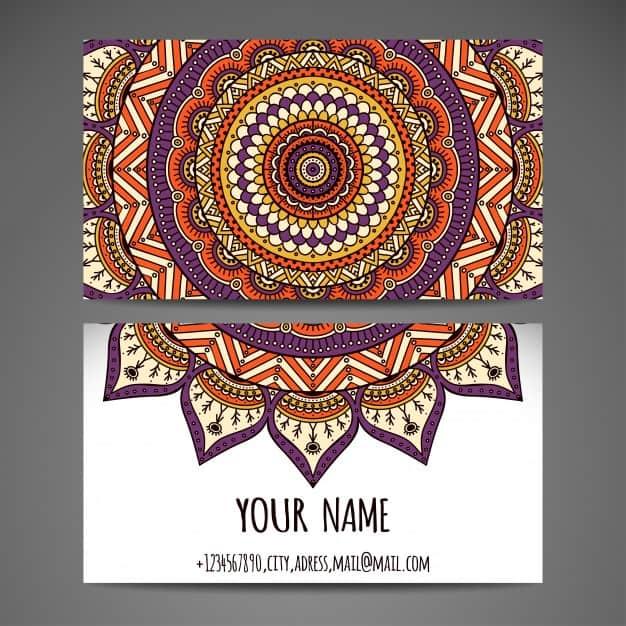 Elegant floral mandala style visiting card