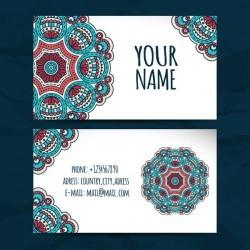 Floral mandala style visiting card