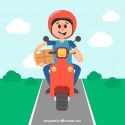 Happy deliveryman driving scooter