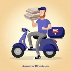 Smileyman delivering pizza