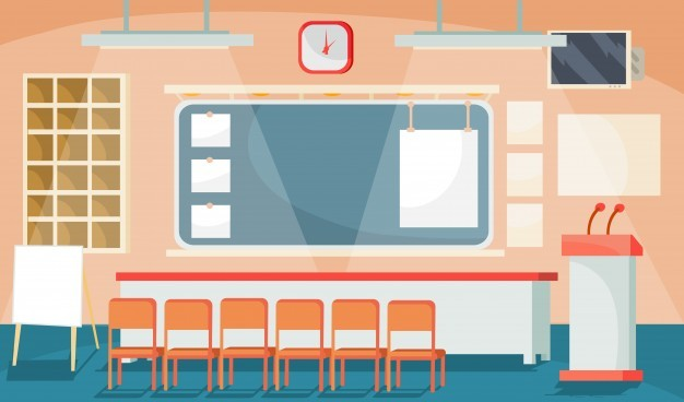 Vector flat illustration of a business interior – conference, meeting room, room for prese ...