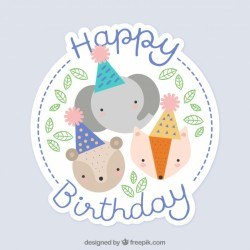 Birthday background with animals