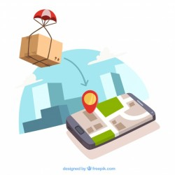 Box with pachute and phone with location