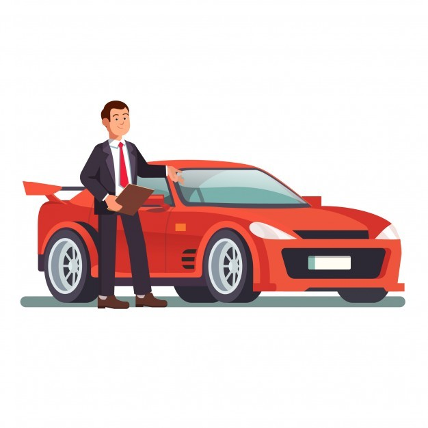 Car dealer showing a new red sports auto