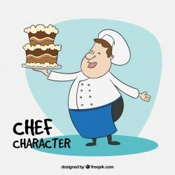 Chef with a cake background