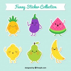Collection of cute healthy food stickers