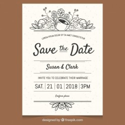Elegant wedding invitation with hand drawn style