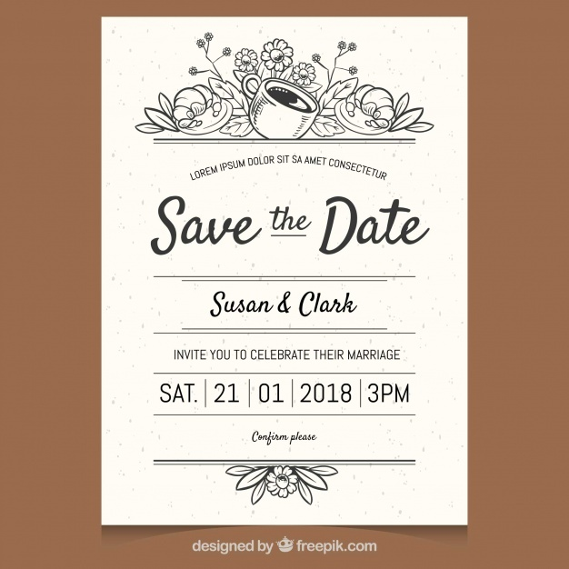 Elegant wedding invitation with hand drawn style