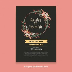 Floral wedding invitation with circular frame