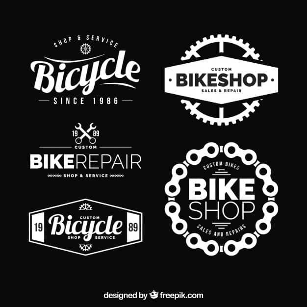 Modern set of elegant bike logos