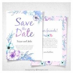 Modern watercolor wedding invitation