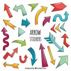 Original arrow stickers with hand drawn style