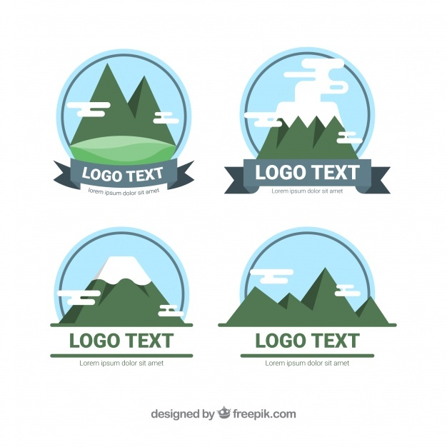 Pack of logos with mountains in flat design