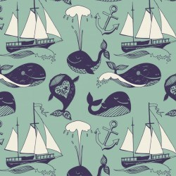 Pattern with marine motifs. Yachts, funny whales, carefree sunny voyage
