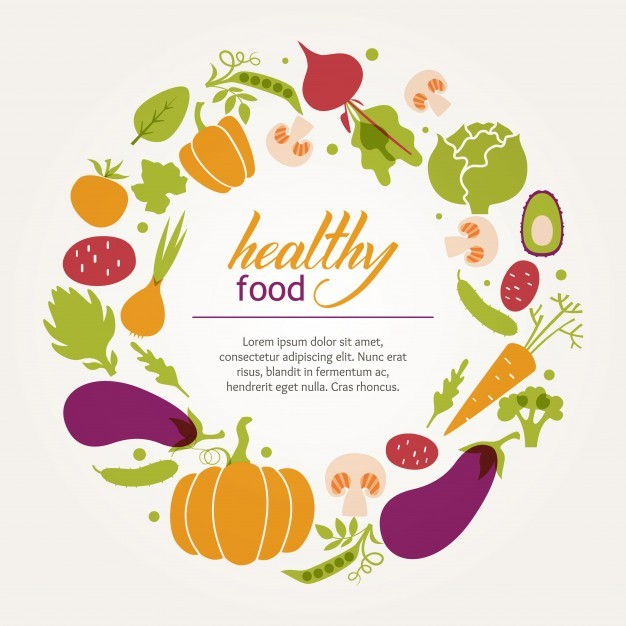 Round frame of fresh juicy vegetables