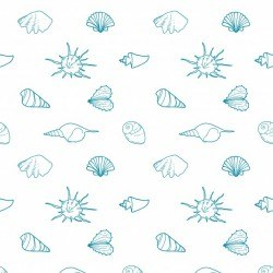 Seamless vector pattern with shells of various shapes