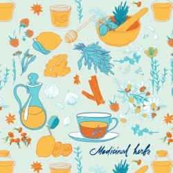 Set of objects and herbs to treat colds. Seamless pattern