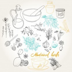 Set of objects and herbs to treat colds