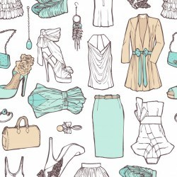 Shopping list in pictures. Pattern of women's clothing in a romantic style for work and rest