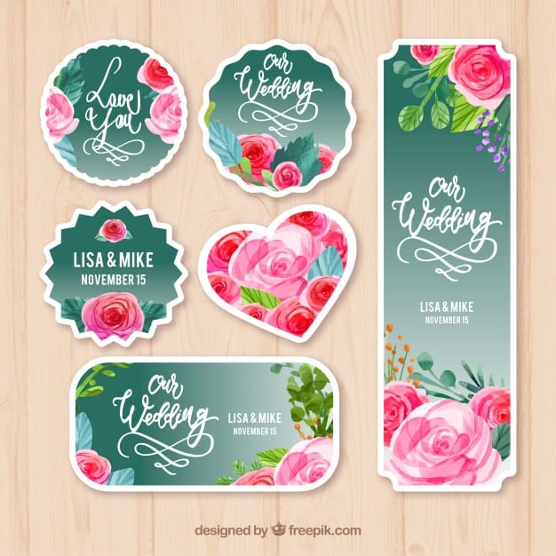 Wedding labels with watercolor roses