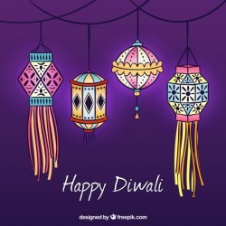 Background with hand drawn diwali decorative lanterns