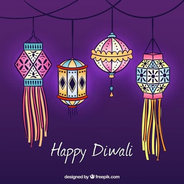 Background with hand drawn diwali decorative lanterns