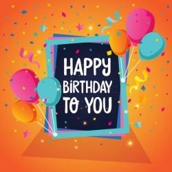 Balloon Theme Happy Birthday Card Illustration