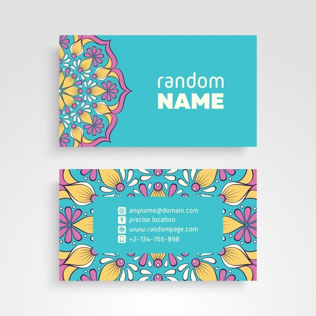 Business Card. Vintage decorative elements. Ornamental floral business cards or invitation with  ...
