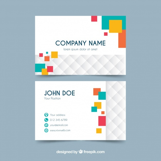 Business card with colorful geometry