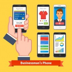 Businessman holding and finger tapping his phone
