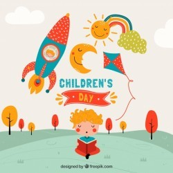 Childrens day design with rocket