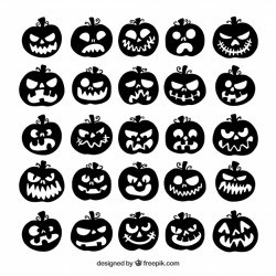 Collection of halloween pumpkin silhouette